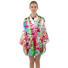 Pattern Decorated Schoolbus Tie Dye Long Sleeve Kimono Robe