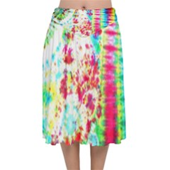 Pattern Decorated Schoolbus Tie Dye Velvet Flared Midi Skirt by Jojostore