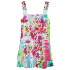 Pattern Decorated Schoolbus Tie Dye Kids  Layered Skirt Swimsuit
