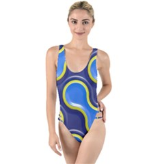 Pattern Curve Design Seamless High Leg Strappy Swimsuit