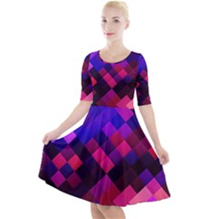 Pattern Seamless Pattern Tile Quarter Sleeve A Line Dress