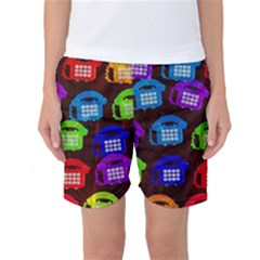 Grunge Telephone Background Pattern Women s Basketball Shorts