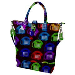 Grunge Telephone Background Pattern Buckle Top Tote Bag