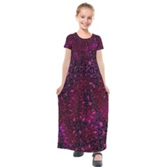 Retro Flower Pattern Design Batik Kids  Short Sleeve Maxi Dress by Sapixe
