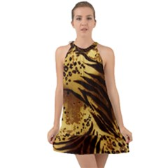 Pattern Tiger Stripes Print Animal Halter Tie Back Chiffon Dress by Jojostore