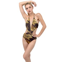 Pattern Tiger Stripes Print Animal Plunging Cut Out Swimsuit