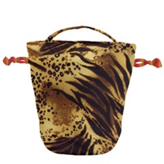 Pattern Tiger Stripes Print Animal Drawstring Bucket Bag