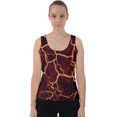 Lava Cracked Background Fire Velvet Tank Top by Sapixe