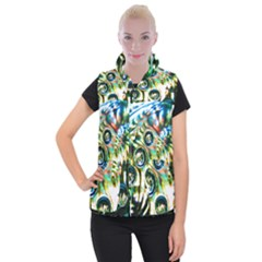 Dark Abstract Bubbles Women s Button Up Vest by Jojostore