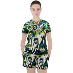 Dark Abstract Bubbles Women s Tee And Shorts Set by Jojostore