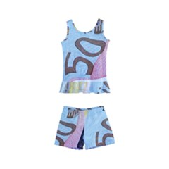 Abstract Currency Background Kid s Boyleg Swimsuit