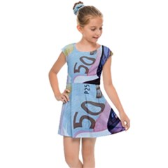 Abstract Currency Background Kids Cap Sleeve Dress