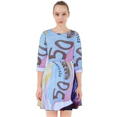 Abstract Currency Background Smock Dress