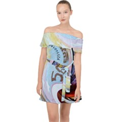 Abstract Currency Background Off Shoulder Chiffon Dress