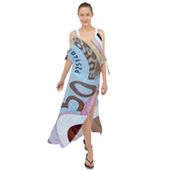 Abstract Currency Background Maxi Chiffon Cover Up Dress
