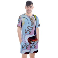 Abstract Currency Background Men s Mesh Tee And Shorts Set