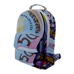 Abstract Currency Background Flap Pocket Backpack (large)