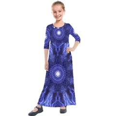 Tech Neon And Glow Backgrounds Psychedelic Art Kids  Quarter Sleeve Maxi Dress