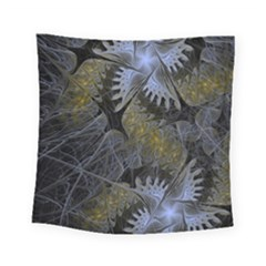 Fractal Wallpaper With Blue Flowers Square Tapestry (small) by Jojostore