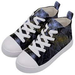 Fractal Wallpaper With Blue Flowers Kid s Mid Top Canvas Sneakers by Jojostore