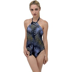 Fractal Wallpaper With Blue Flowers Go With The Flow One Piece Swimsuit