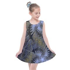 Fractal Wallpaper With Blue Flowers Kids  Summer Dress