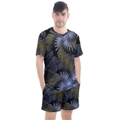 Fractal Wallpaper With Blue Flowers Men s Mesh Tee And Shorts Set