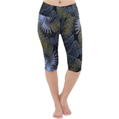 Fractal Wallpaper With Blue Flowers Lightweight Velour Cropped Yoga Leggings