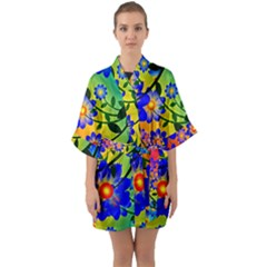 Abstract Background Backdrop Design Quarter Sleeve Kimono Robe
