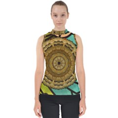 Kaleidoscope Dream Illusion Mock Neck Shell Top