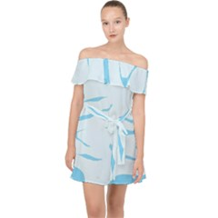 Blue Tiger Animal Pattern Digital Off Shoulder Chiffon Dress