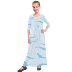 Blue Tiger Animal Pattern Digital Kids  Quarter Sleeve Maxi Dress by Jojostore