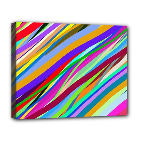 Multi Color Tangled Ribbons Background Wallpaper Deluxe Canvas 20  X 16  (stretched) by Jojostore