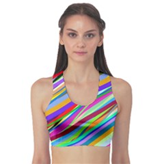 Multi Color Tangled Ribbons Background Wallpaper Sports Bra