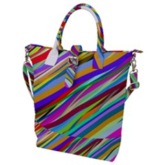 Multi Color Tangled Ribbons Background Wallpaper Buckle Top Tote Bag