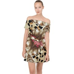Animal Tissue And Flowers Off Shoulder Chiffon Dress