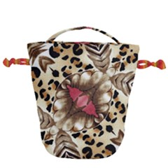 Animal Tissue And Flowers Drawstring Bucket Bag