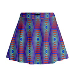 Red Blue Bee Hive Pattern Mini Flare Skirt