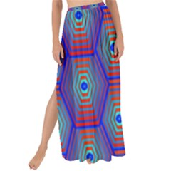 Red Blue Bee Hive Pattern Maxi Chiffon Tie Up Sarong