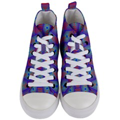 Red Blue Bee Hive Pattern Women s Mid Top Canvas Sneakers