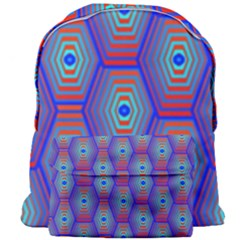 Red Blue Bee Hive Pattern Giant Full Print Backpack by Jojostore