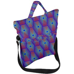 Red Blue Bee Hive Pattern Fold Over Handle Tote Bag by Jojostore