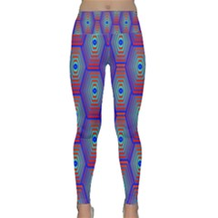 Red Blue Bee Hive Pattern Lightweight Velour Classic Yoga Leggings