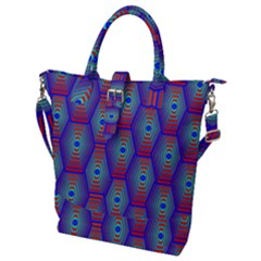Red Blue Bee Hive Pattern Buckle Top Tote Bag