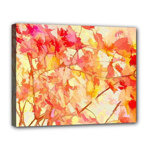 Monotype Art Pattern Leaves Colored Autumn Canvas 14  X 11  (stretched)