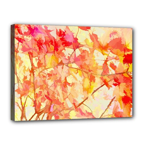 Monotype Art Pattern Leaves Colored Autumn Canvas 16  X 12  (stretched) by Jojostore