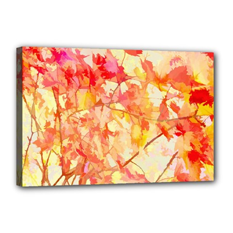 Monotype Art Pattern Leaves Colored Autumn Canvas 18  X 12  (stretched) by Jojostore