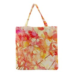 Monotype Art Pattern Leaves Colored Autumn Grocery Tote Bag by Jojostore