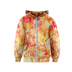 Monotype Art Pattern Leaves Colored Autumn Kids  Zipper Hoodie
