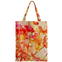 Monotype Art Pattern Leaves Colored Autumn Zipper Classic Tote Bag by Jojostore